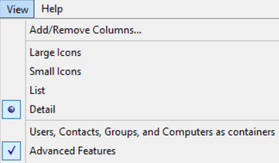 Advanced Features enabled under the View dropdown